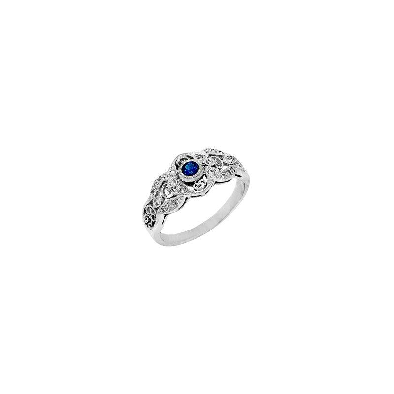 Signature Collection .32ct Vintage Filigree Genuine Blue Sapphire & Diamond Ring