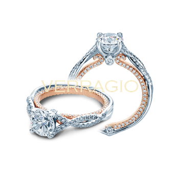 Verragio Couture 0421 DR - 14k White and Rose Gold Twist Shank Diamond Engagement Ring By Verragio
