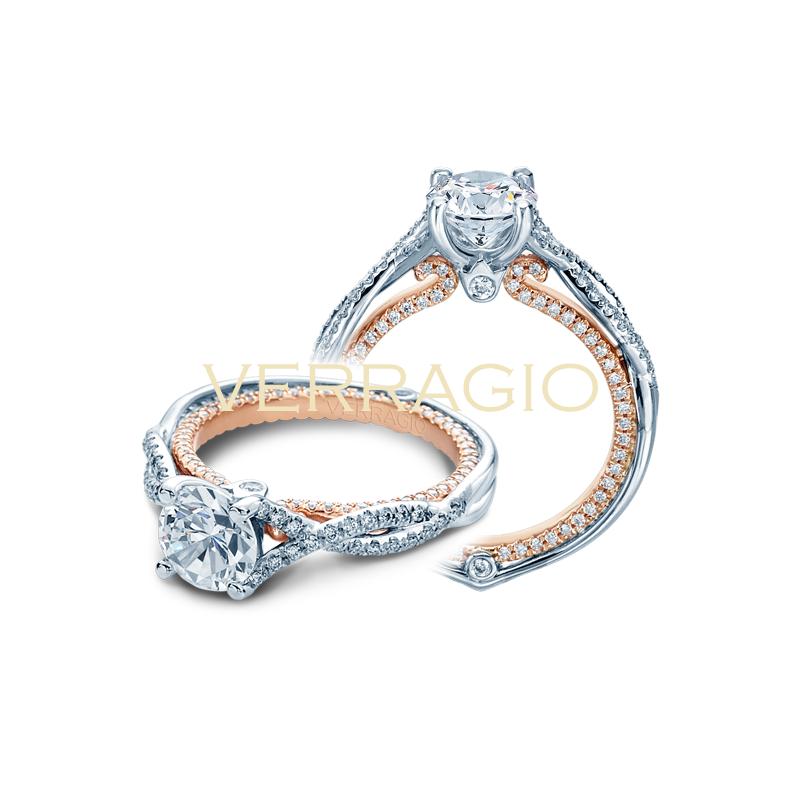 Verragio Verragio Couture 0421 DR - 14k White and Rose Gold Twist Shank Diamond Engagement Ring By Verragio