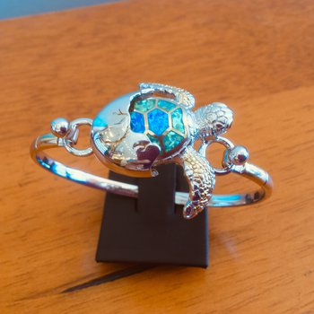 Sterling Silver and Gold Plate Turtle Hatchling with Kyocera Lab Created Opal