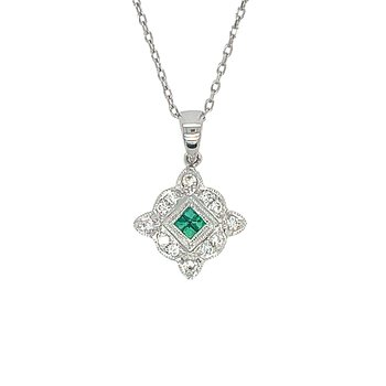 14k White Gold Vintage Inspired Emerald and Diamond Pendant