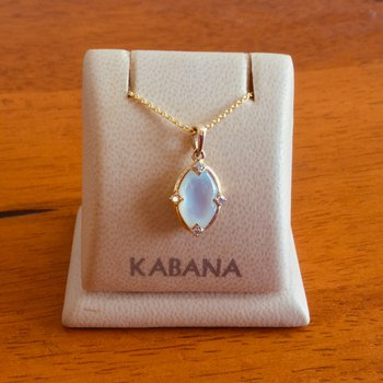 14k Yellow Gold Kabana Pendant with White Mother of Pearl and Diamond