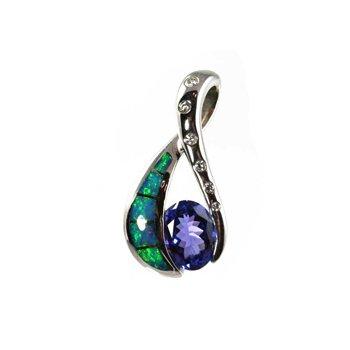 Kabana Australian Opal, Tanzanite & Diamond Pendant