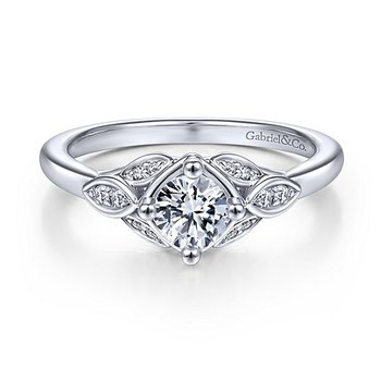 14k White Gold Vintage Style Round Center Straight Diamond Engagement Ring by Gabriel NY