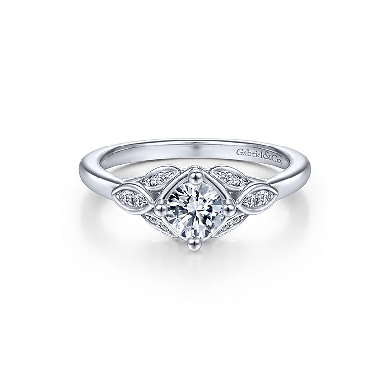 Gabriel NY 14k White Gold Vintage Style Round Center Straight Diamond Engagement Ring by Gabriel NY