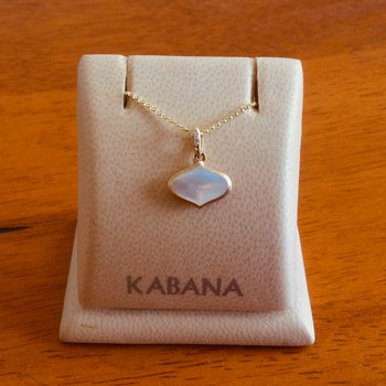 14k Yellow Gold Delicate White Mother of Pearl Pendant with Diamonds by Kabana
