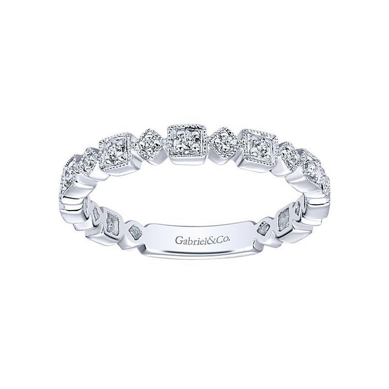 Signature Collection 14k White Gold Squares and Diamond Shapes Ladies' Ring by Gabriel NY