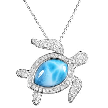 Sterling Silver Cubic Zirconia Turtle Pendant with Larimar