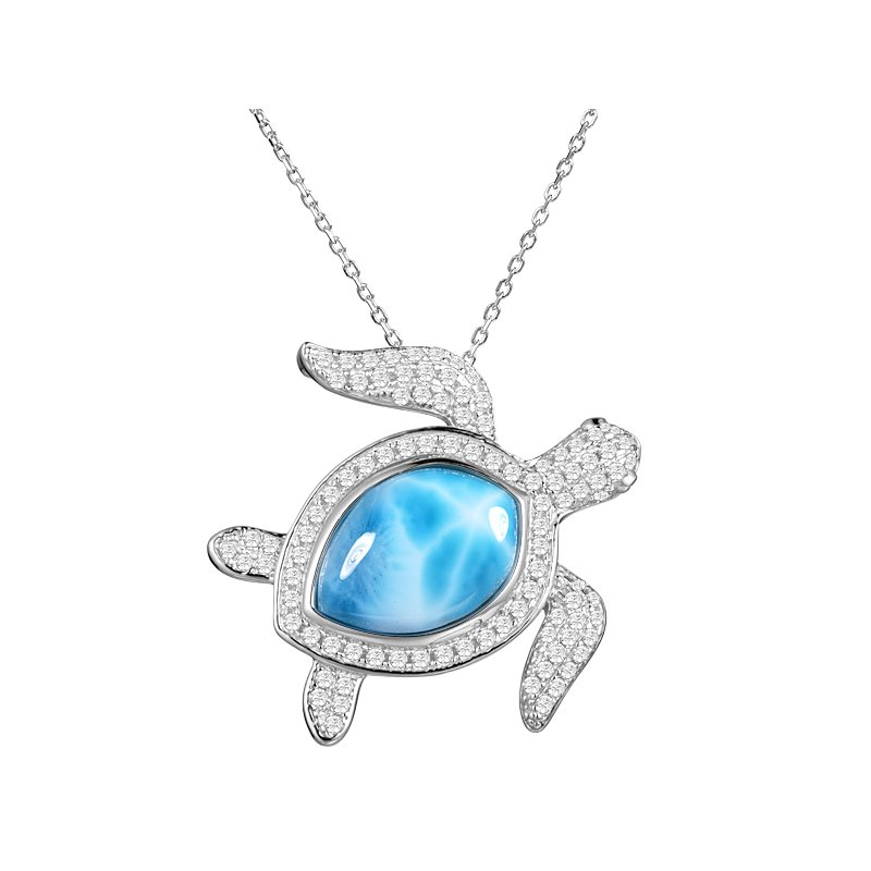 Sealife Jewelry Sterling Silver Cubic Zirconia Turtle Pendant with Larimar