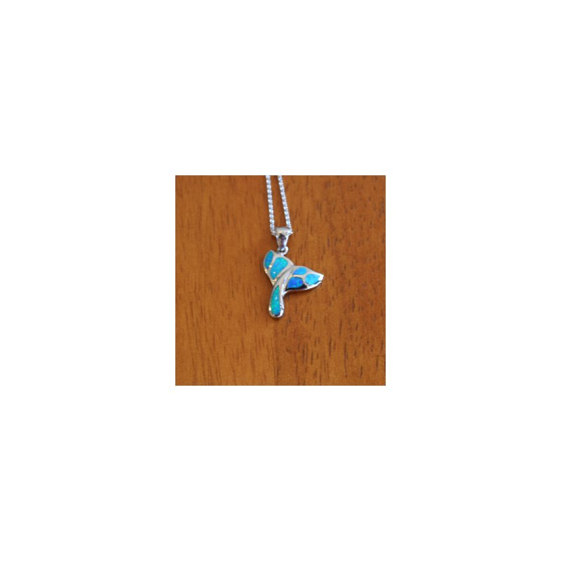 Kovel Sealife Sterling Silver Whale Tail Pendant with Kyocera Lab Created Synthetic Opal.