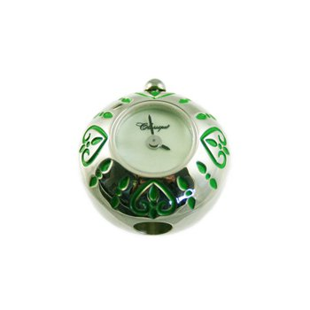 Sterling Silver Bead Watch with Green Enamel Hearts and Green Mother of Pearl