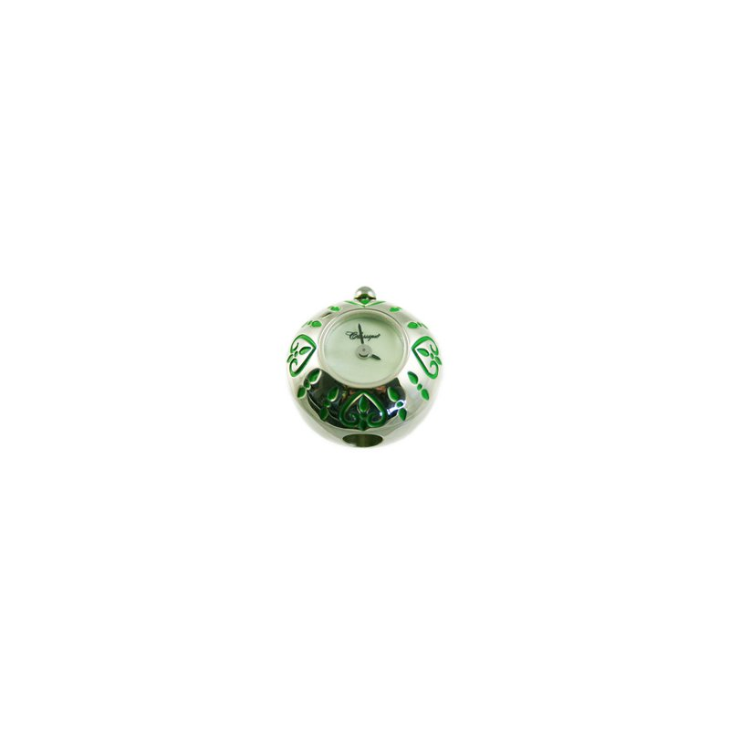 Swiss Watches Sterling Silver Bead Watch with Green Enamel Hearts and Green Mother of Pearl