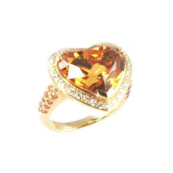 Genuine Citrine & Diamond Ring in 18k Yellow Gold