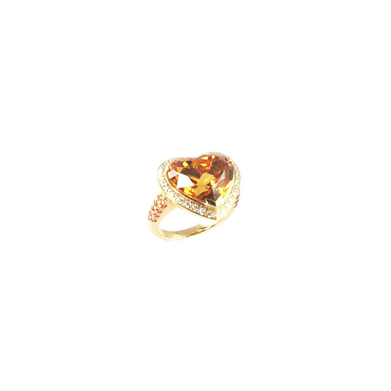 Signature Collection Genuine Citrine & Diamond Ring in 18k Yellow Gold