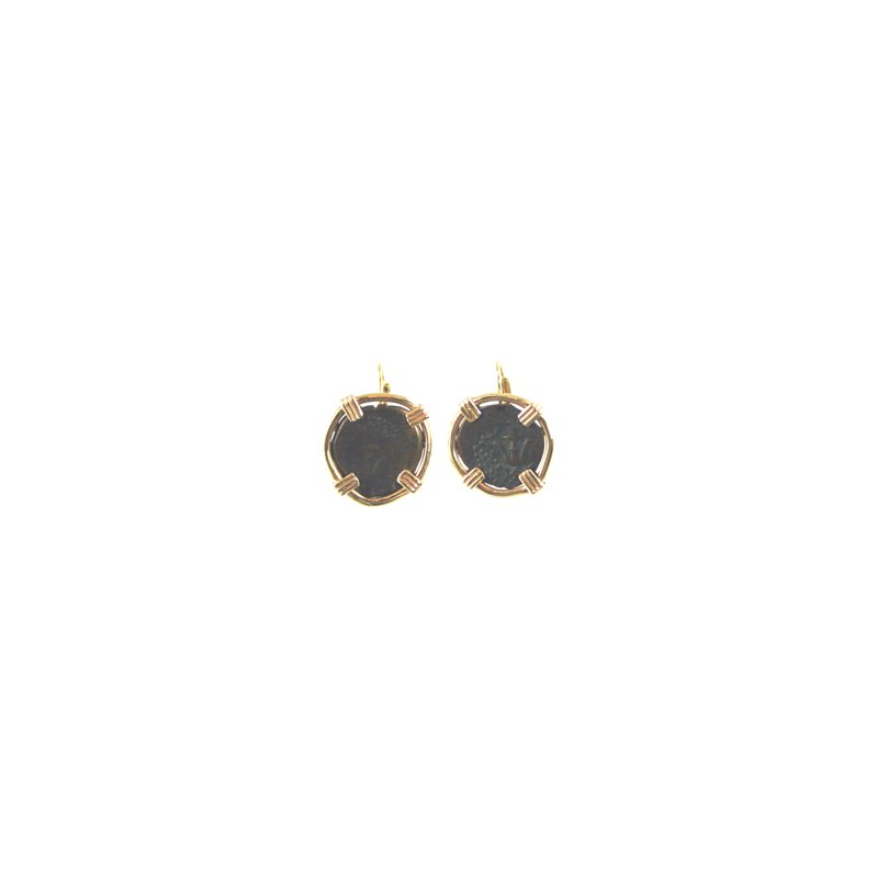 Coin Jewelry Genuine Judean Copper Prutah Widows Mite Coins framed in 14k Yellow Gold