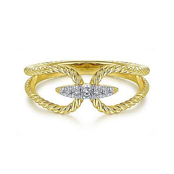14k Yellow Gold Twisted Rope Pave' Diamond Ring