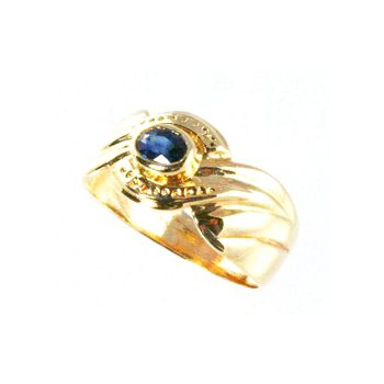 Genuine Blue Sapphire Ring in 14k Yellow Gold - 5599