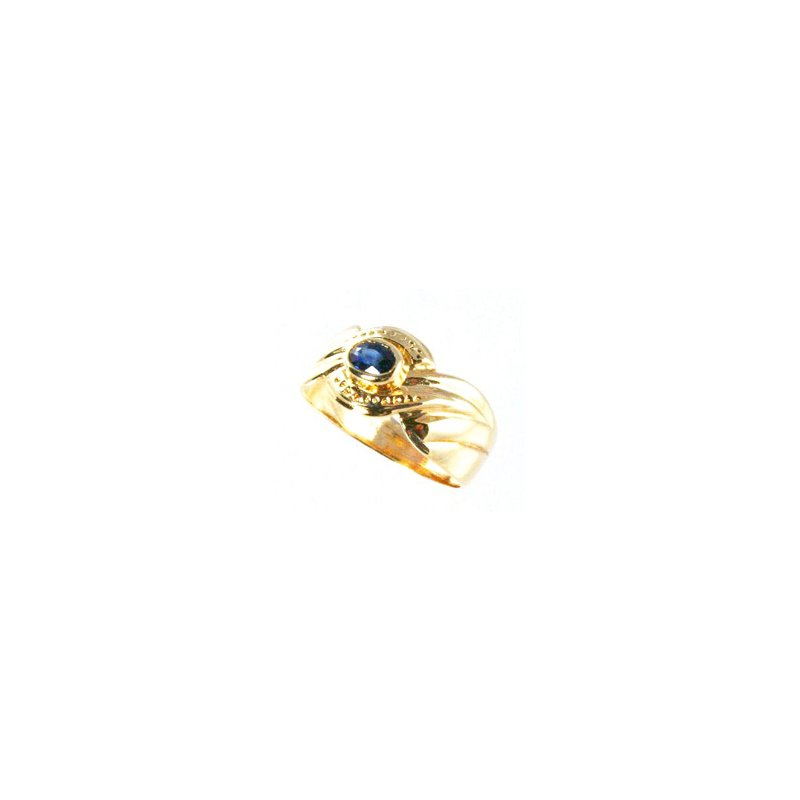 Signature Collection Genuine Blue Sapphire Ring in 14k Yellow Gold - 5599