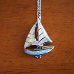 Kovel Sealife Sterling Silver and Gold Plate Sailboat Pendant with White Mother of Pearl and Kyocera Lab Created Opal