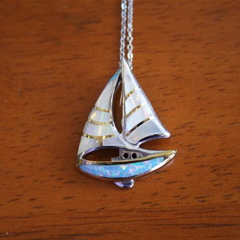 Sterling Silver and Gold Plate Sailboat Pendant with White Mother of Pearl and Kyocera Lab Created Opal