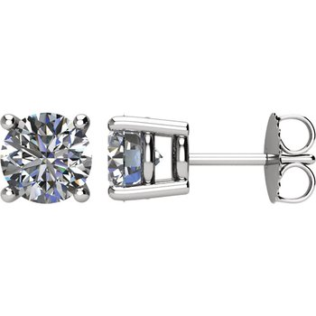 14k White Gold 4-prong Diamond Stud Earrings - 2.00ctw