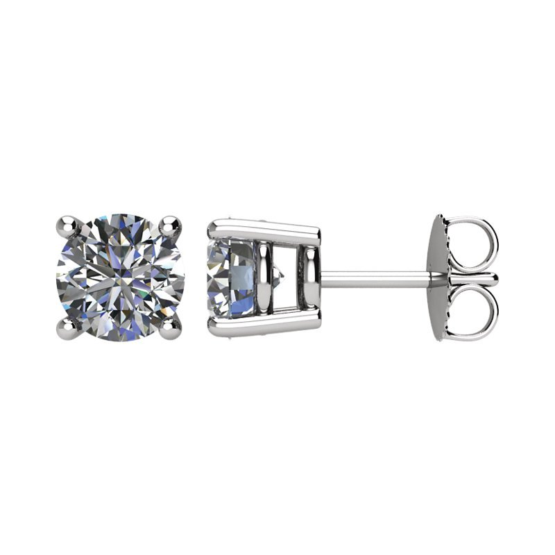 Signature Collection 14k White Gold 4-prong Diamond Stud Earrings - 2.00ctw
