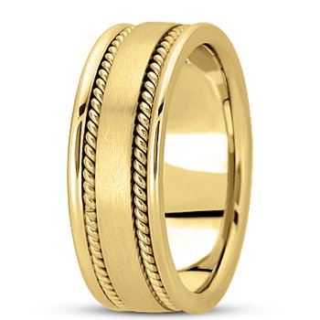 Unique Settings HM250 - Y - W - 14k Yellow and White Gold Handmade Handwoven 8mm Men's Wedding Band