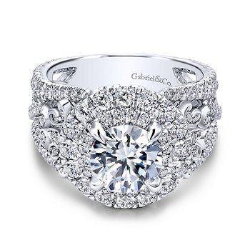 18k White Gold Round Halo Engagement Ring by Gabriel NY