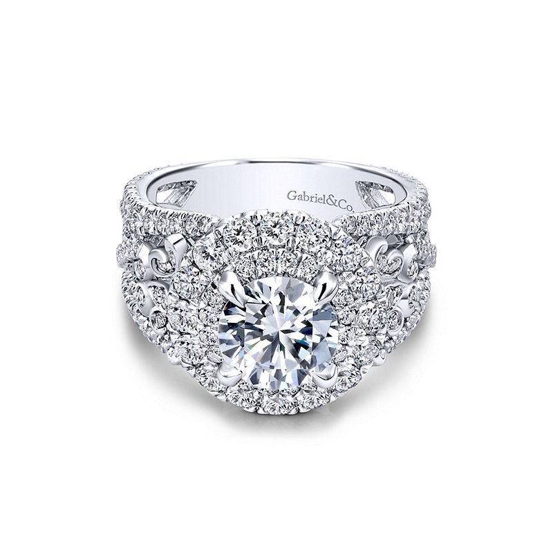 Gabriel NY 18k White Gold Round Halo Engagement Ring by Gabriel NY