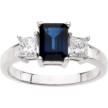 Genuine Blue Sapphire & Diamond Ring - EL466134