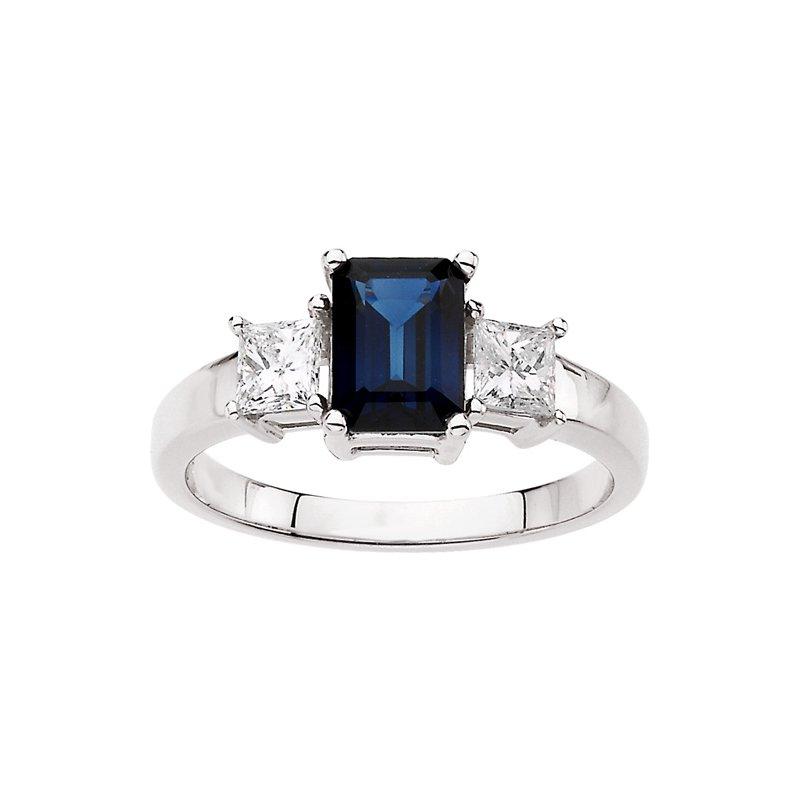 Signature Collection Genuine Blue Sapphire & Diamond Ring - EL466134