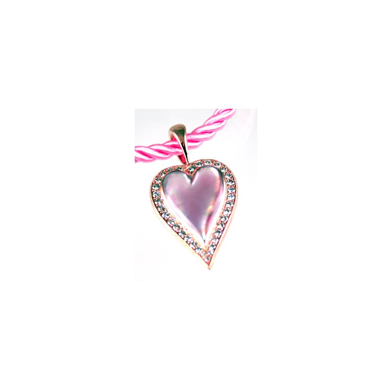 Kabana Jewelry 14k Rose Gold Heart Pendant with Pink Mother of Pearl Inlay and Diamonds