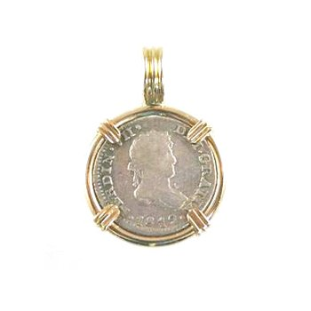 Genuine Spanish 1/2 Real Silver Bust Coin framed in 14k Yellow Gold
