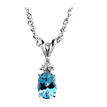 Genuine Aquamarine & Diamond Necklace