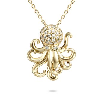 14k Yellow Gold Diamond Octopus Pendant