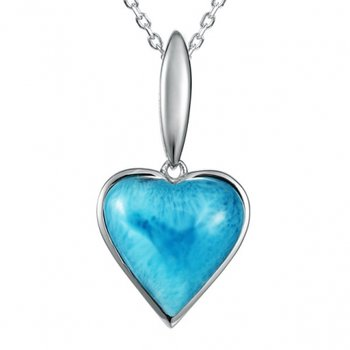 Alamea Collection Sterling Silver Heart Pendant with Larimar