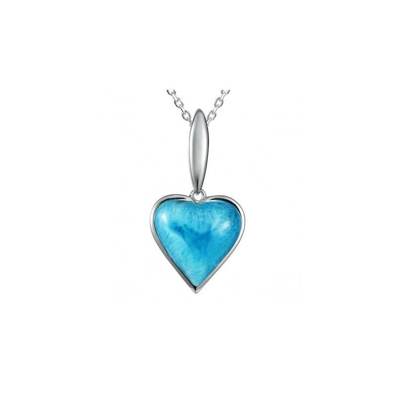 Alamea Larimar  Alamea Collection Sterling Silver Heart Pendant with Larimar
