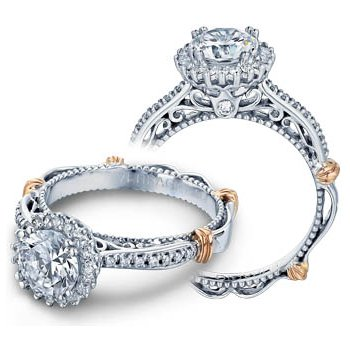 Verragio Parisian-119R - 14k White and Rose Gold Diamond Halo Engagement Ring by Verragio