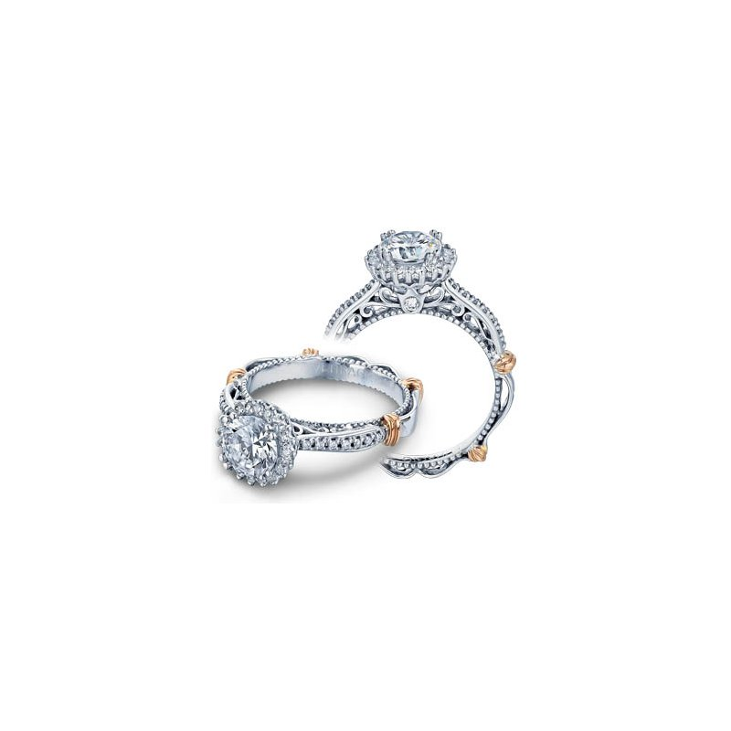 Verragio Verragio Parisian-119R - 14k White and Rose Gold Diamond Halo Engagement Ring by Verragio