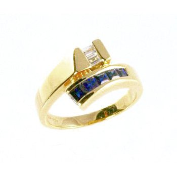 18k Yellow Gold Genuine Blue Sapphire and Diamond Ring - #24325