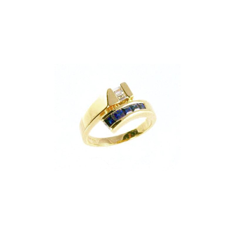 Signature Collection 18k Yellow Gold Genuine Blue Sapphire and Diamond Ring - #24325