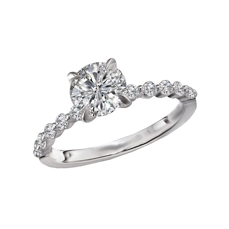 Signature Collection 14k White Gold Engagement Ring with Round Brilliant Diamonds