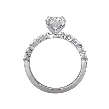 14k White Gold Engagement Ring with Round Brilliant Diamonds
