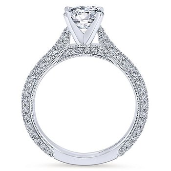 Kirsten 14k White Gold Pave' Diamond Engagement Ring by Gabriel NY