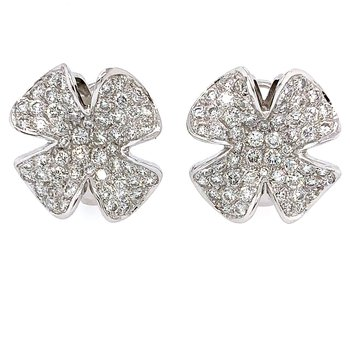 18k White Gold Omega Back Diamond Earrings