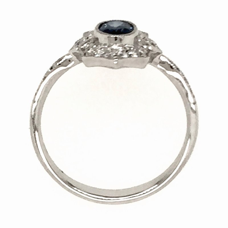 Signature Collection Oval Sapphire & Diamond Vintage Style Ring