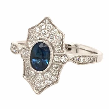 Oval Sapphire & Diamond Vintage Style Ring
