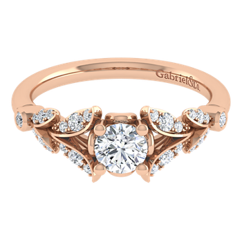 Vintage 14k Rose Gold Round Straight Diamond Engagement Ring by Gabriel NY