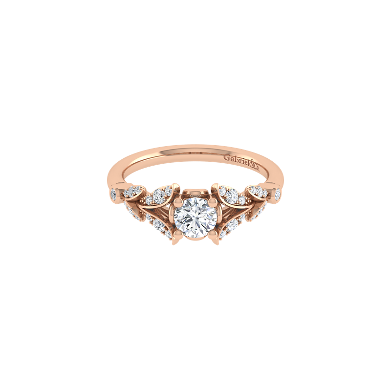 Gabriel NY Vintage 14k Rose Gold Round Straight Diamond Engagement Ring by Gabriel NY