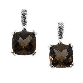 Genuine Checkerboard Smoky Quartz & Diamond Earrings
